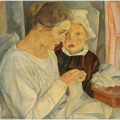 «Мать и ребенок» (Mother And Child, 1918) картины Бориса Дмитриевича Григорьева, проданные на аукционах Sotheby's и Christie's