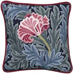 Beth Russell - William Morris Tulip - Tulip Pillow/Picture - Kit Needlepoint Pillows, Needlepoint Patterns, Needlepoint Canvases, Embroidery Patterns, Cross Stitch Patterns, William Morris Patterns, Diy Pillow Covers, Cross Stitch Pillow, Tapestry Design
