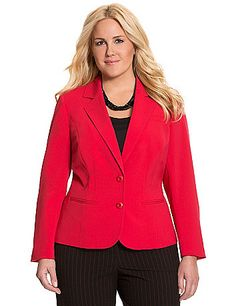 Made with our Tailored Stretch fabric, this bold & beautiful jacket was made for flattering curves! Fitted with contoured seams, banded back and double button closure, this polished classic elevates your look with notched lapels, welt pockets and fixed-button sleeves. Fully lined for a great drape and feel. lanebryant.com