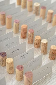 escort card table with wine corks