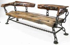 James Sawtelle - Long Studio Bench Of Shipwreck Wood & Chain, USA Circa 1950s.