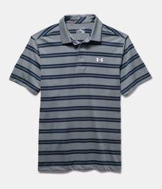 Men's UA Groove Stripe Polo, Steel, Laydown