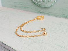 Gold Heart Double Pierce Ear Cuff (Single-Side). $9,15, via Etsy.