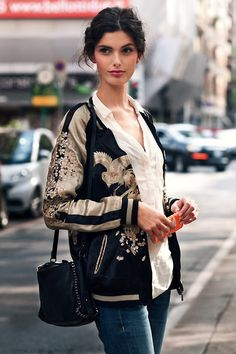 { Street Style Women's Fashion } An Embroidery Bomber Jacket as featured on Estilo Fashion, Boho Fashion, Ideias Fashion, Autumn Fashion, Womens Fashion, Fashion Trends, Fashion Wear, Street Fashion, Trending Fashion