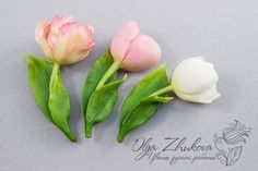 Brooch with a tulip from a cold porcelain by polyflowers.deviantart.com on @DeviantArt