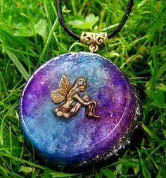 Black Tourmaline Orgone Fairy Pendant Talisman- LARGE - EMF Protection and Energy Healing .  New age crystal healing