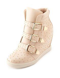 Studded Triple Buckle Wedge Sneaker: Charlotte Russe