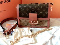 As soon as I laid my eyes on the Louis Vuitton DAUPHINE MM from the collection, I fell instantly in love. Dubbed the new 'IT' bag of the season, I was super fortunate to get my hands on this must-have luxury handbag, as soon as it was released. Louis Vuitton Handbags, Louis Vuitton Monogram, Winter Blouses, Packing Light, I Fall, Luxury Handbags, Calf Leather, Calves, Pouch