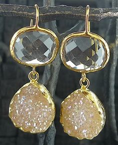 Coralia Leets Double Shaped Clear Quartz and White Drusy Earrings