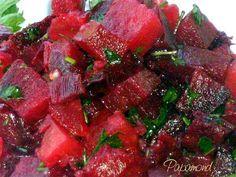 Salata marocana de sfecla rosie | Papamond Salad Recipes, Deserts, Strawberry, Beef, Ethnic Recipes, Food, Side Dishes, Entrees, Salads