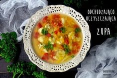 Healthy soup with cauliflower and bell pepper Healthy Soup, Healthy Recipes, Soup Recipes, Recipies, Recipe Images, Cheeseburger Chowder, Cauliflower, Stuffed Peppers, Dinner