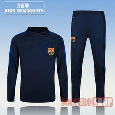 Top Quality:New Fashion Kids Barcelona FC 2016 2017 Navy Blue Tracksuit Personalised Customised