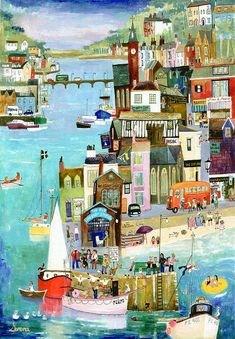 """Narrow Streets at Looe"" Original Painting by Serena, Cornish Naive Artist. Available as prints Illustrations, Illustration Art, Graffiti Kunst, Arte Popular, Naive Art, Landscape Art, Painting & Drawing, Knife Painting, Painting Abstract"