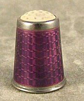 Fine quality guilloche enameled sterling thimble, glass or stone tip, no damage to enamel, marked 925 S. on May 2010 Sewing Tools, Sewing Notions, Sewing Machine Accessories, Old Sewing Machines, Spirograph, Needle Book, Ribbon Work, All Things Purple, Vanity Set