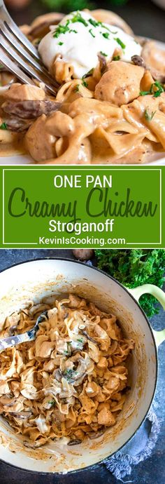 A classic comfort food staple with Russian origins, this stroganoff gets a makeover using tender chicken instead of beef strips, is served with egg noodles in a creamy mushroom sauce that's all made in one pot. via @keviniscooking