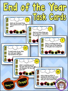 End of the Year Task Cards to keep you kids on their toes! Great to use as writing or discussion prompts. You will learn so much about your students and the school year! FREE!