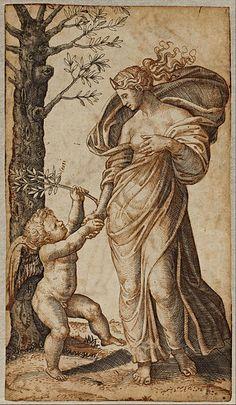 Marcantonio Raimondi - Reconciliation of Minerva and Cupid - Google Art Project (Visual Arts at Stanford University)
