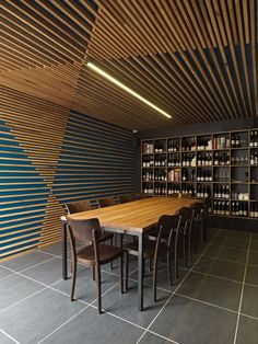 Interior design for 'Hell of the North' restaurant/bar in Melbourne, Australia by SMLWRLD architects Wood Slat Ceiling, Wood Ceilings, Wood Slats, Baffle Ceiling, Bamboo Ceiling, Wood Slat Wall, Interior Architecture, Interior And Exterior, Interior Design