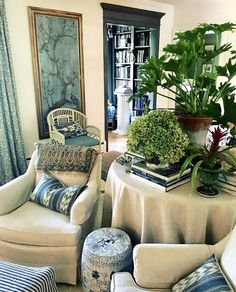 Blue and White Garden Stools – Blue and White Home Blue Living Room Decor, Living Room Designs, Living Room Furniture, Living Spaces, Living Rooms, Bedroom Decor, Blue Rooms, White Rooms, White Decor