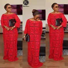 ❌SOLD ❌ Red Candy because every woman needs a red boubou😍Do it with Kiks ✔ For the love of good stuff✔ The Boubou we trust✔ For all… Long African Dresses, African Lace Styles, Latest African Fashion Dresses, African Print Fashion, Nigerian Fashion, African Style, Ankara Styles, Lace Gown Styles, Lace Gowns
