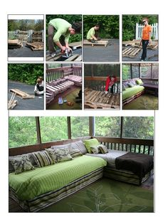 Pallet Daybed Sectional. Oh my...I want this cozy screened porch! Lots of creative pallet ideas, home decor inspiration, and DIY tutorials at http://pinterest.com/wineinajug/passion-for-pallets/