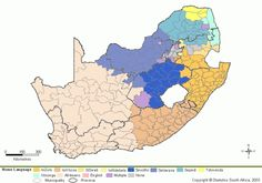 Language distribution map, South Afrika