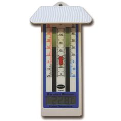 Large digital max min thermometer in a classic design with roof for indoor or outdoor use, this max min thermometer shows current temperatures and also maximum and minimum temperatures reached since the previous reset. A reliable digital max min thermometer complete with batteries included.