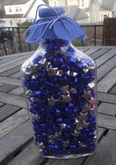 Starry Night, Sparkly Origami Lucky Stars in a Recycled Bottle