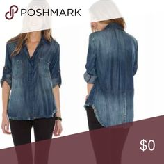 """🍃💕Frayed Hem Split Back Button Down Shirt Gorgeous fit and feel in this fabulous split back button down by Bella Dahl for Anthro. Comprised of soft and luxurious 100% Tencel, features medium faded wash, frayed edge detailing, hi/lo shirt tail styling, contrast stitching, optional roll tab sleeves. Fit is TTS.  Small 2/4 Medium 6/8 Large 10/12. Collar to hem approximately 32"""" at back. Each piece hand dyed for quality and individuality. Beautifully detailed, it's no wonder why celebrities…"""