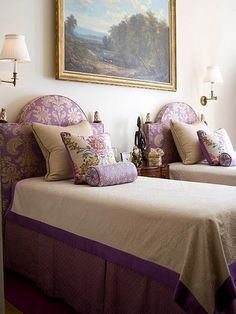 Twin Beds with upholstered Headboards and custom  Bedding with coverlet, bedskirt, and Euro, Throw, and Neckroll pillows