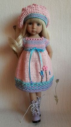 OOAK Outfit for doll Dianna Effner Little Darling hand made Knitting Dolls Clothes, Crochet Doll Clothes, Knitted Dolls, Girl Doll Clothes, Doll Clothes Patterns, Crochet Dolls, Barbie Clothes, Girl Dolls, Baby Dolls