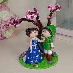 Wedding cake topper / figurines mariage personnalisées / fimo /polymer clay / geek / zelda / link / mini-figurines