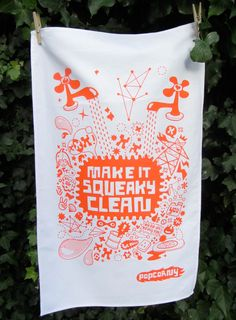 POPCORNY Screen Printed Teatowel Orange. £9,00, via Etsy.