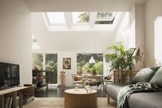 What is the VELUX potential? It's when you transform a gloomy extension into the most special room in your home. VELUX windows can bring in twice as much daylight, as well as more fresh air. Velux, Window Styles, Living Room Lighting, Roof Window, Home, Manufactured Home, Room, Room Lights, Ceiling Lights Living Room