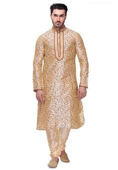 Cream Art Dupion Silk Readymade Kurta with Churidar Mens Kurta Designs, Beige Art, Ethnic Looks, Dupion Silk, Indian Man, Mens Fashion, Fashion Outfits, Mens Clothing Styles, Indian Outfits