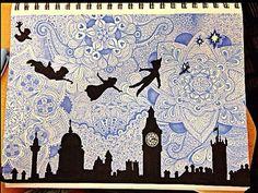 Peter Pan mandala/zentangle (drawn by me) Sharpie Drawings, Sharpie Art, Cool Drawings, Dibujos Zentangle Art, Zentangle Drawings, Zentangles, Zantangle Art, Pen Art, Arte Disney