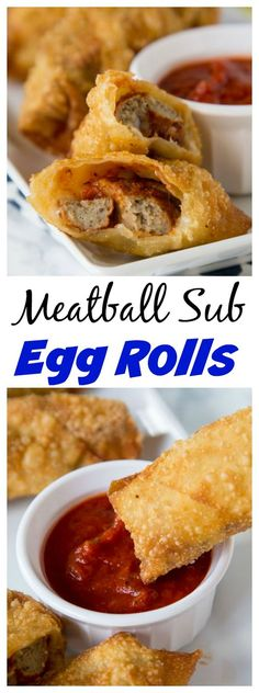 You Have Meals Poisoning More Normally Than You're Thinking That Meatball Sub Egg Rolls – all the flavors of your favorite meatball sub sandwich in a crispy egg roll. Serve with marinara sauce for dipping and you have the perfect appetizer or snack! Meatball Subs, Meatball Recipes, Beef Recipes, Cooking Recipes, Game Recipes, Drink Recipes, Appetizer Dips, Best Appetizers, Appetizer Recipes