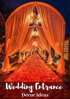 Hindu Wedding Theme Ideas For Strapless Dress - 8 best indian wedding entrance walkway decor ideas Wedding Gate, Wedding Mandap, Wedding Venues, Wedding Ideas, Wedding Walkway, Wedding Ceremony, Wedding Backdrops, Wedding Themes, Wedding Hall Decorations