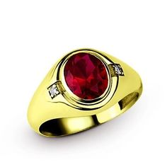 Mens 10k Solid Gold Ring RED RUBY 4.90ct and NATURAL DIAMONDS Classic Ring #Handmade #Statement