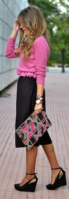 Pink Ruched Hem Sweater by Mi Aventura Con La Moda