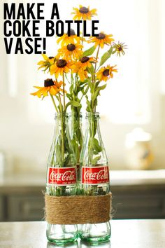 DIY 3 empty green glass coke bottles St by thedestinyofthings