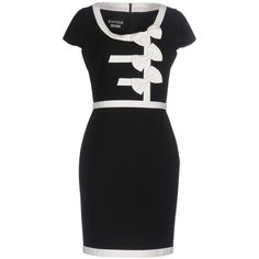 Boutique Moschino Short Dress (1.520 BRL) ❤ liked on Polyvore featuring dresses, black, bow dress, zipper dress, jacquard mini dress, flare mini dress and flared dress