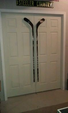Things Made From Hockey Sticks | Hockey Stick Door Handles in bar. @Karen Jacot Jacot ... | Man Cave Ideas