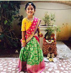 Indian ethnic style inspiration for your little angels. Baby Lehenga, Kids Lehenga Choli, Kids Lehanga, Sarees, Half Saree Designs, Blouse Designs, Dress Designs, Baby Girl Dresses, Cute Dresses