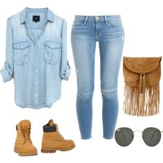 Untitled #7 by nevaehdeloach on Polyvore featuring polyvore fashion style Frame Denim Timberland Warehouse Ray-Ban