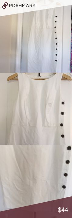 Ann Taylor Dress White like new sleeveless Ann Taylor Dress in size 6. Buttons (do not open) all the way down left side. Adorable Ann Taylor Dresses