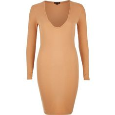 River Island Nude ribbed plunge dress ($21) ❤ liked on Polyvore featuring dresses, pink, pink bodycon dress, pink dress, long sleeve plunge dress, pink long sleeve dress and long sleeve plunge neck dress