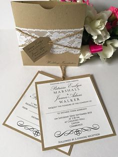 Wedding invitations and stationery from Yellow Blossom Designs Ltd  White. Brown. Vintage. Kraft. Lace. Tag. Inserts. Personalised. Shabby Chic. Black. Square Wallet. RSVP. Inserts