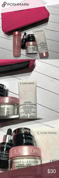 Beautiful Lancôme make up bag with products Genefique fix .20 oz Creme mousse confort 2.0 oz Bienfait multi-vital 0.5 oz  Genifique .27 oz  Tonique confort 1.69 oz Feel free to ask any questions Will ship ASAP :) Lancome Makeup Luminizer