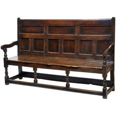 17th Century English Oak Panel Back Settle Bench | From a unique collection of antique and modern benches at https://www.1stdibs.com/furniture/seating/benches/